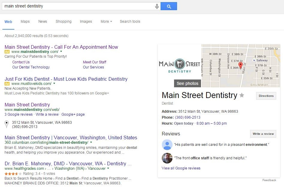 Local Search results after claiming Google My Business Listing