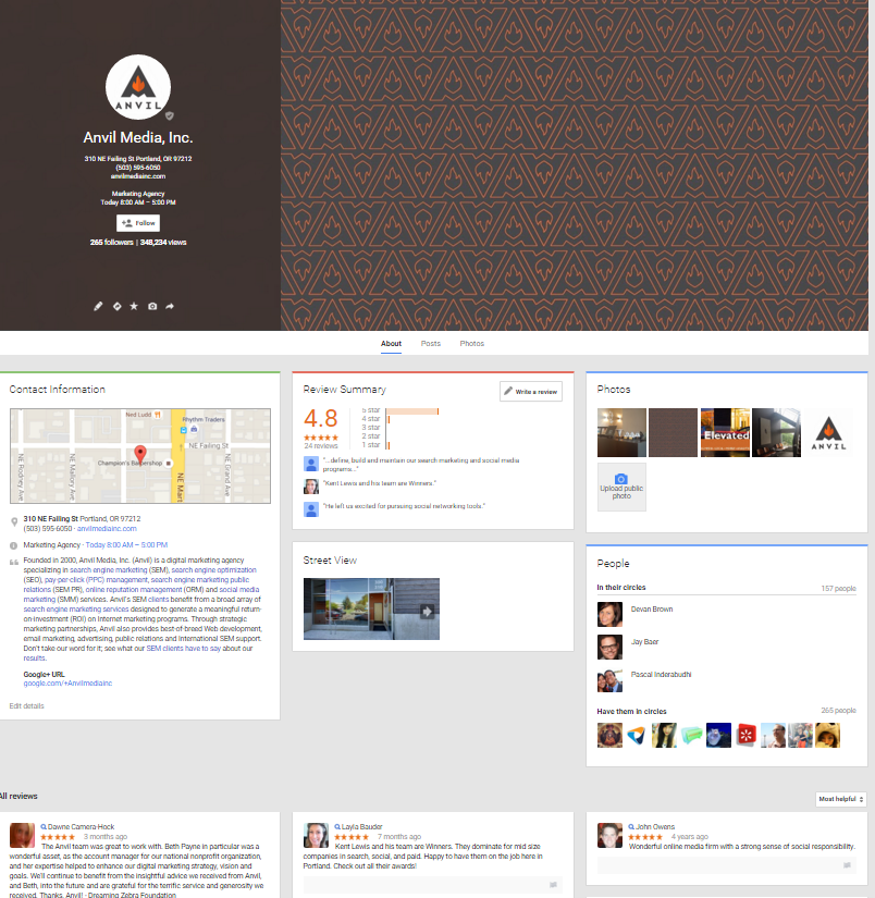 Previous Google+ layout for local businesses