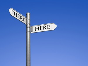 Blank signpost with two arrows - just add your text. (Clipping path included)