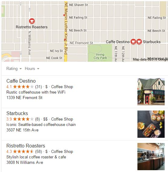 Google's new update to local search rankings determines these are the coffee shops that best fit my needs