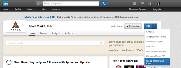 Creating a LinkedIn Showcase Page
