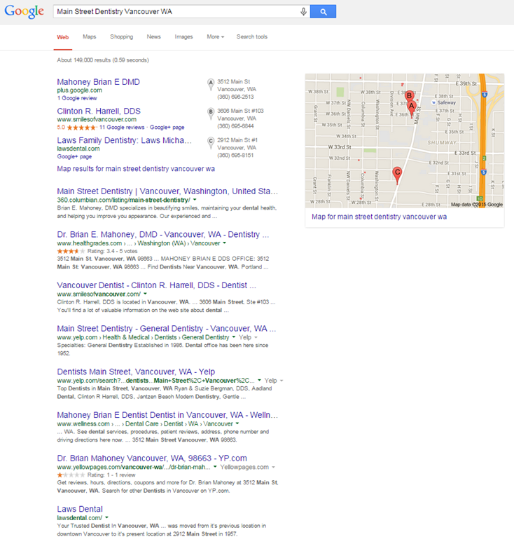 Local Search results Before claiming google my business listing