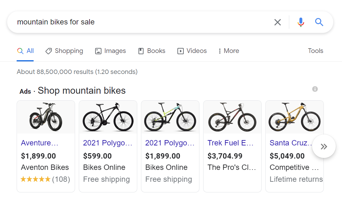 A search for mountain bikes returning shopping ads results