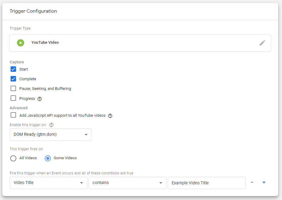 Google Tag Manager trigger configuration to track video views