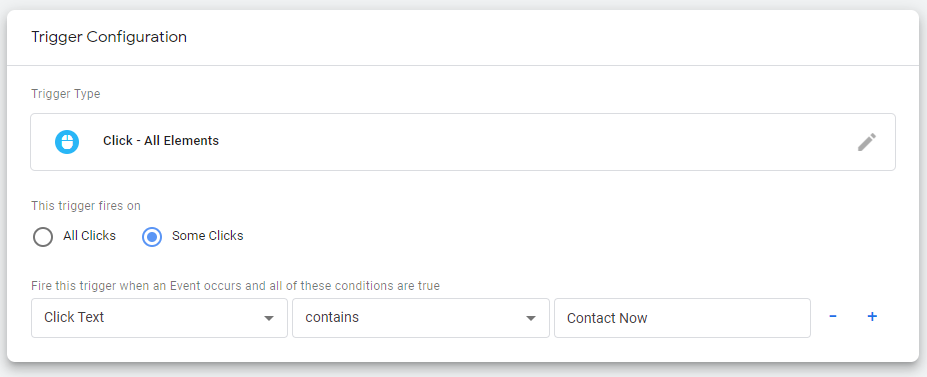 Google Tag Manager trigger configuration to track button clicks